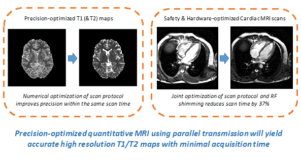 Precision-optimised quantitative MRI using parallel transmission will yield accurate high resolution T1/T2 maps with minimal acquisition time. The image on the left depicts precision-optimised T1 (&T2) maps and how the numerical optimisation of scan protocol improves precision within the same scan time. The image on the right depicts Safety &Hardware-optimised Cardiac MRI scans and how joint optimisation of scan protocol and RF shimming reduces scan time by 37%.