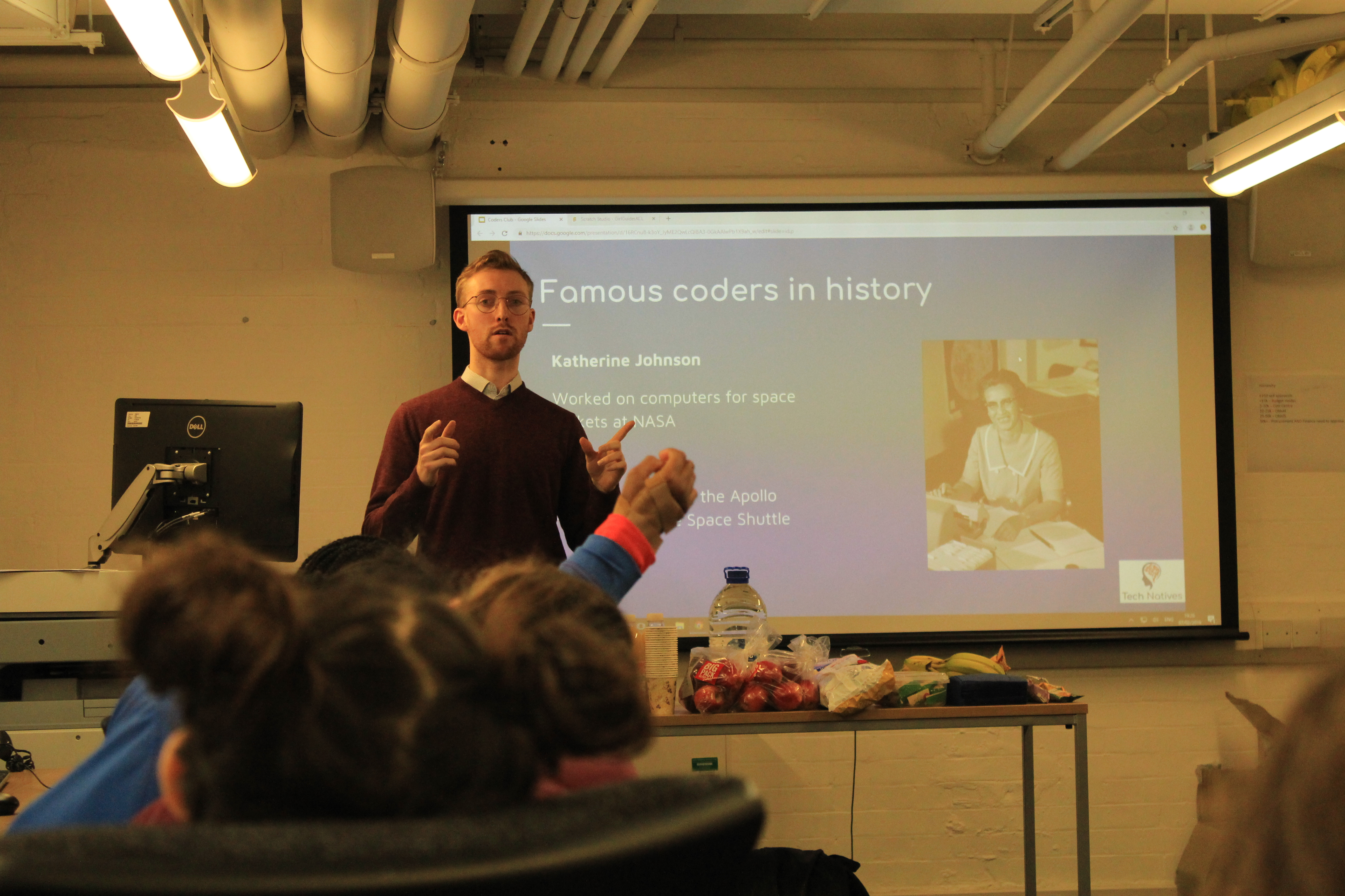 Jonny Jackson presenting about famous coders in history