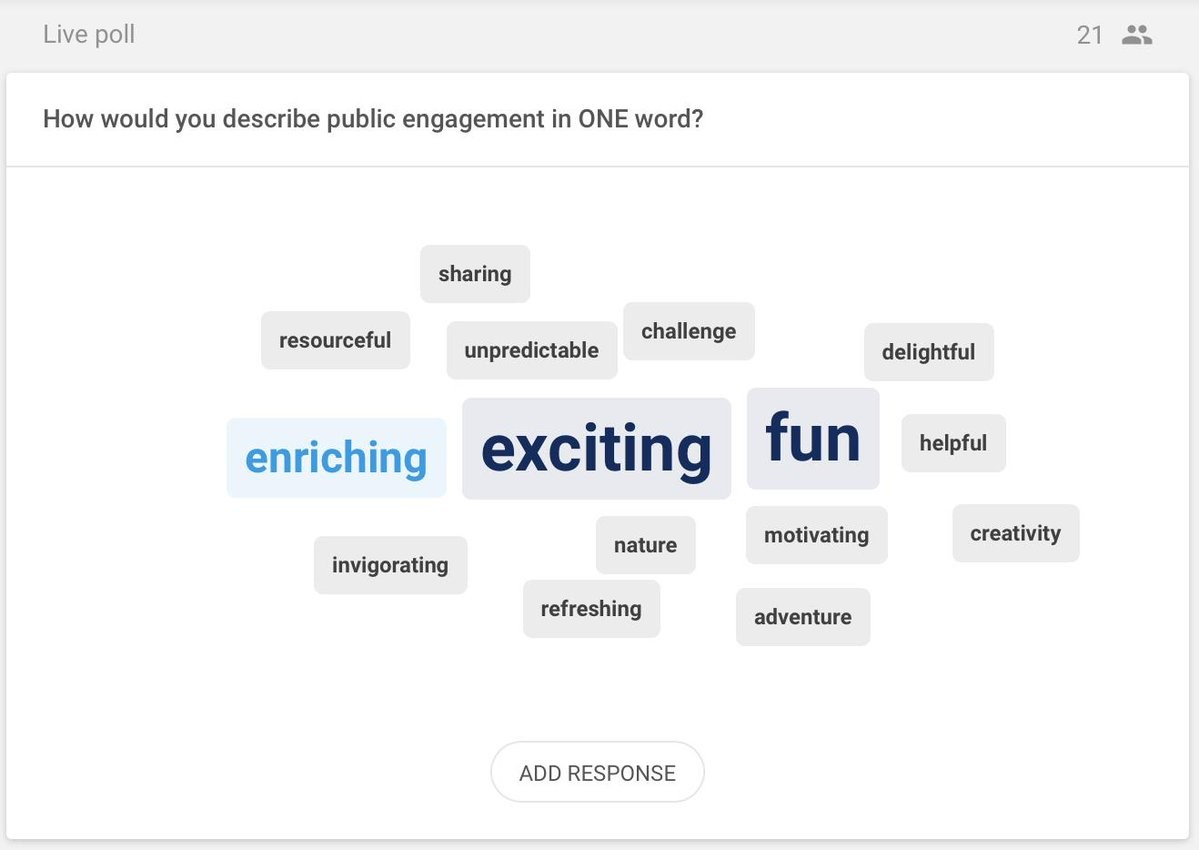 Word Cloud depicting the results of a live poll describing Public Engagement in one word. Enriching, Exciting and Fun came up as the most prominent answers. Others included resourceful, sharing, unpredictable, challenge, delightful, helpful, creativity, nature, motivating, invigorating, refreshing and adventure.