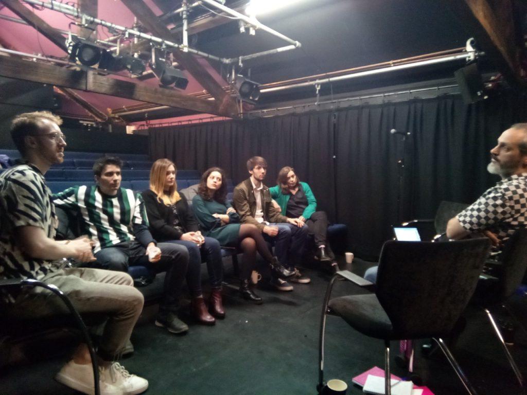 Students (left to right: Jonathan Jackson, Amer Ajanovic, Irina Grigorescu, Marica Muffoletto and Robert Holland) provide feedback to script writer Juan Echenique